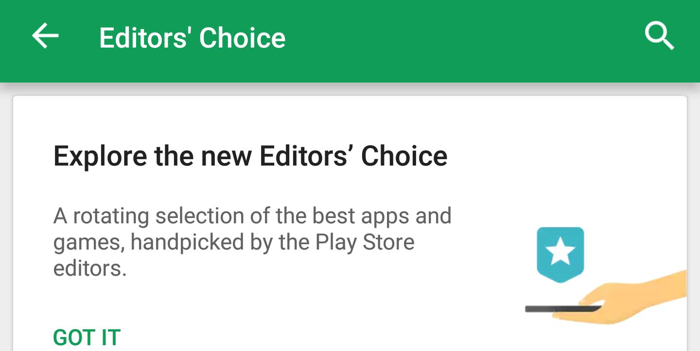 Play Store editor choice app